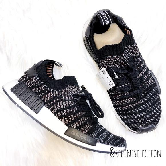 premium selection 01c3f dd83c Adidas NMD R1 STLT Primeknit Black Pink Sneakers